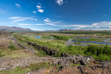 Scenic view of famous Thingvellir, Iceland.