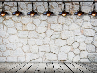 Lamp at stone wall on wood floor Room interior modern style