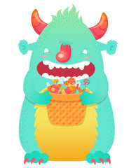 Funny smiling Halloween fluffy monster character
