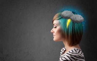 Young girl with thunderstorm lightning headache