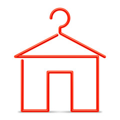 Red clothing hanger in a shape of house.