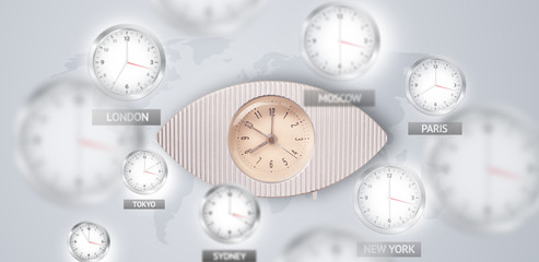 Clocks and time zones over the world concept