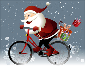 Santa Claus riding a bike