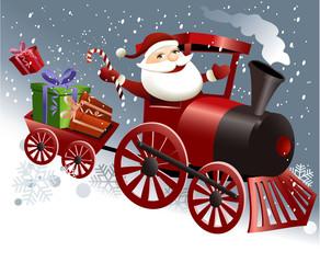 Santa Claus in train