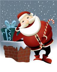 Santa Claus and Christmas chimney