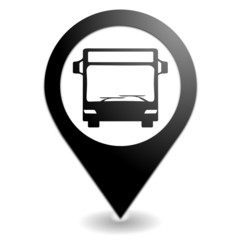 bus sur symbole localisation noir