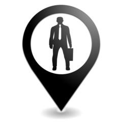 business sur symbole localisation noir