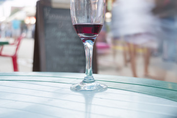 Empty glass from wine and  in cafe outdoors