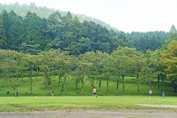 行楽地の子供が遊ぶ風景