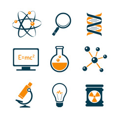 Chemistry and bio technology science icons