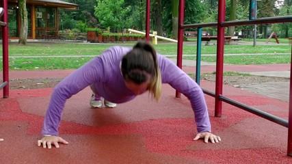 young girl doing push ups