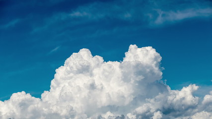 Beautiful Cumulus Clouds on Blue Sky Background, timelapse