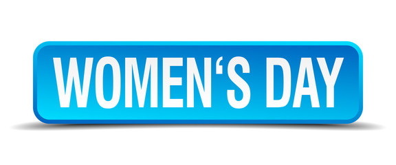 womens day blue 3d realistic square isolated button