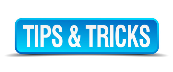 Tips and tricks blue 3d realistic square isolated button