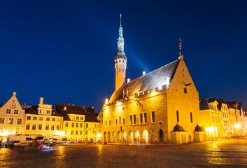 Tallinn central Town Hall Square by night (Raekoja plats)