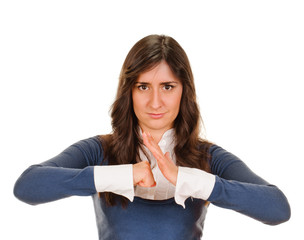 Exited young woman kicks clenched fist arm
