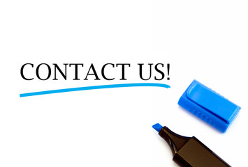Contact Us text on white background