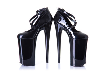 Pair of ultra high heel fetish shoes