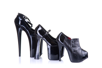 Row of different style female shoes