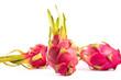 Three exotic pink dragon fruits