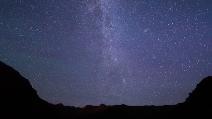 Light of the moon and the Milky Way. Time Lapse