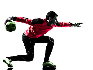 caucasian soccer player goalkeeper man  throwing ball silhouette