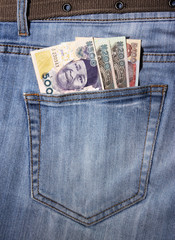 closeup of striped male jeans with nairas in a pocket