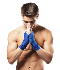 Fighter concentrated before fight