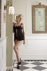 elegant sexy girl in black underwear