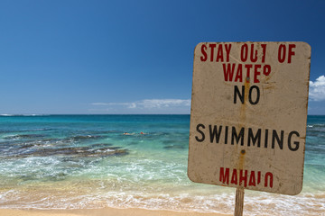 no swimming danger sign in hawaii
