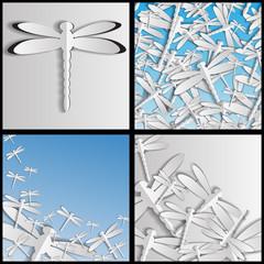 вырезанные из бумаги стрекозы