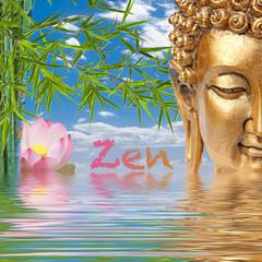bouddha zen, bambou et lotus rose, bien-être
