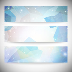 Set of banners with polygonal abstract shapes, circles, lines
