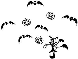 ジャック・オ・ランタンとコウモリを操る悪魔の少女。