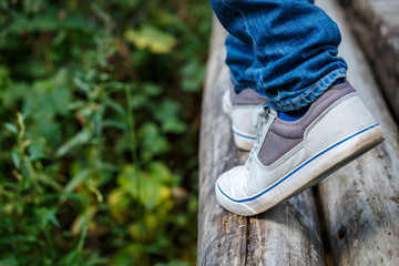 Man foot step