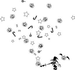 少女が魔法を唱えると、たくさんのジャック・オ・ランタンとお菓子が出てくる出てくる。