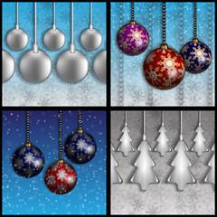новогодние шары на фоне неба