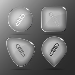 Clip. Glass buttons. Vector illustration.