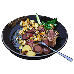 frying pan with fried potatoes and meat