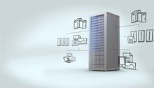 Obraz kompozytowy z cloud computing doodle