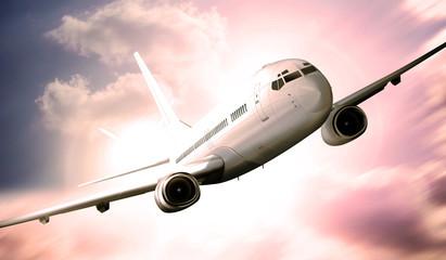 Passagierflugzeug über den Wolken