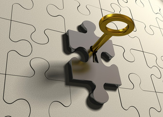 Golden key and puzzle pieces - 3d render illustration