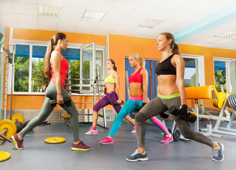 Young women in the gym doing crossfit excercises