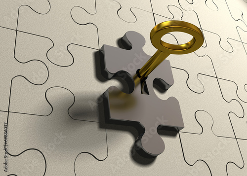 canvas print picture Golden key and puzzle pieces - 3d render illustration