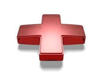 Red Glass Cross isolated On White Background
