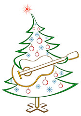 Christmas tree with guitar, pictogram