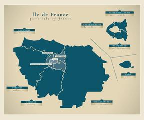 Moderne Landkarte - Île-de-France FR