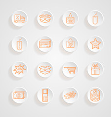 Shopping Icons button shadows vector set
