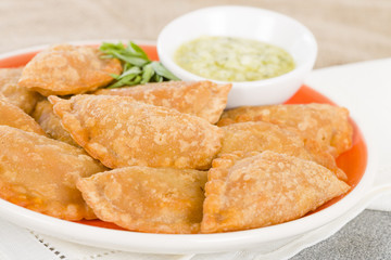 Empanadas - Spanish fried pasty filled with chorizo and cheese