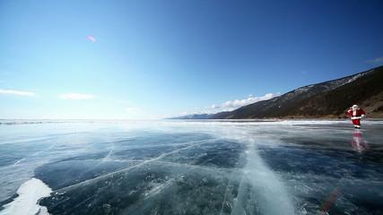 Christmas holidays, Santa Claus walks around the lake Baikal, Si
